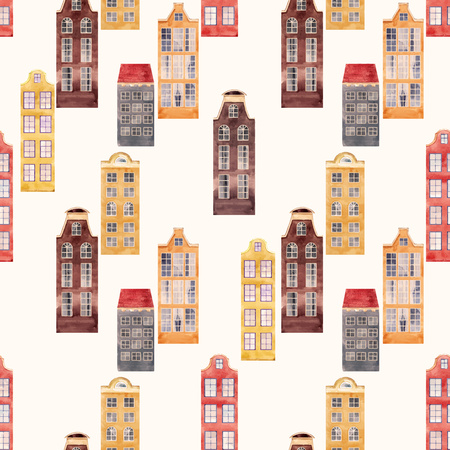 Seamless vector pattern old european city houses Stock Photo