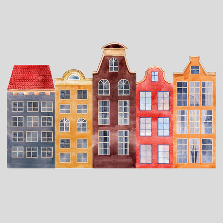 Beautiful illustration with watercolor old city houses