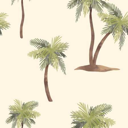 Beautiful vector seamless pattern with hand drawn watercolor tropical palms