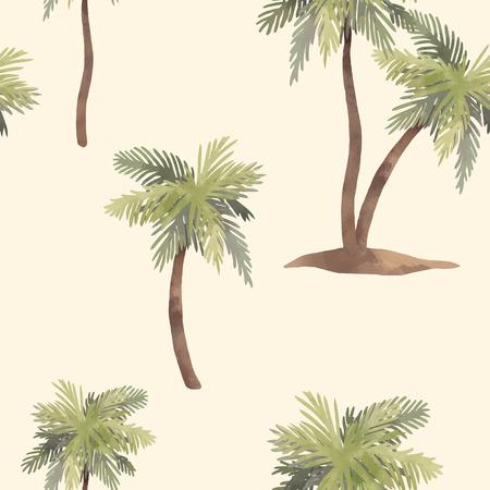Nahtloses Muster des schönen Vektors mit Hand gezeichneten tropischen Palmen des Aquarells Vektorgrafik