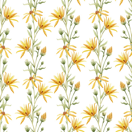 Beautiful vector seamless pattern with watercolor hand drawn flowers