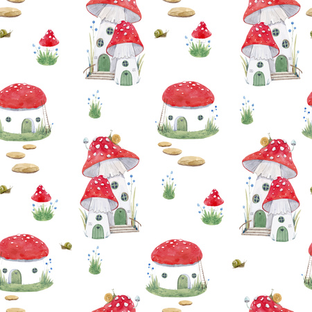 Watercolor mushroom house vector pattern