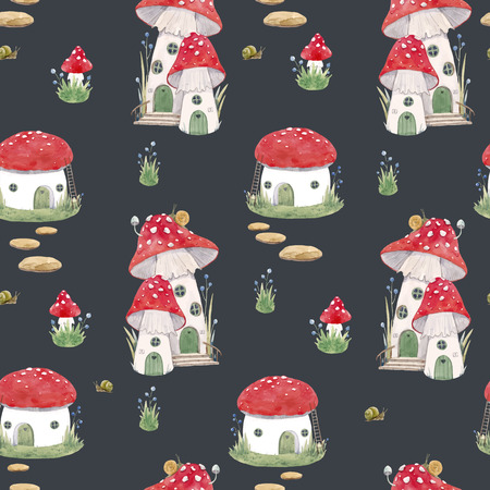Beautiful vector seamless pattern with mushroom houses for babies Foto de archivo - 106442588