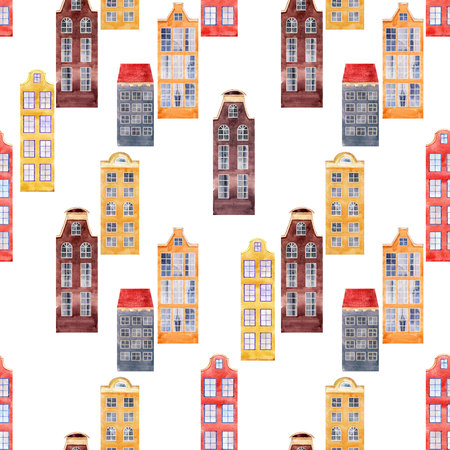 Watercolor house seamless pattern