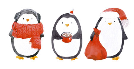 Watercolor christmas baby penguin set