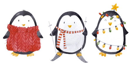 Watercolor christmas baby penguin set