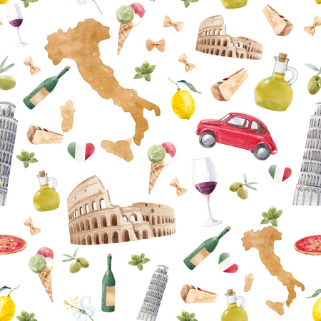 Beautiful vector italian seamless pattern with hand drawn watercolor italy elements