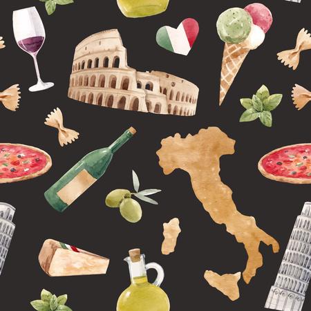 Bello reticolo senza giunte italiano di vettore con elementi disegnati a mano dell'acquerello Italia