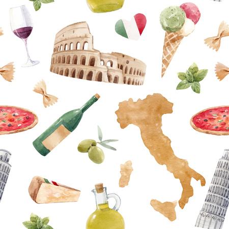 Watercolor italian vector pattern