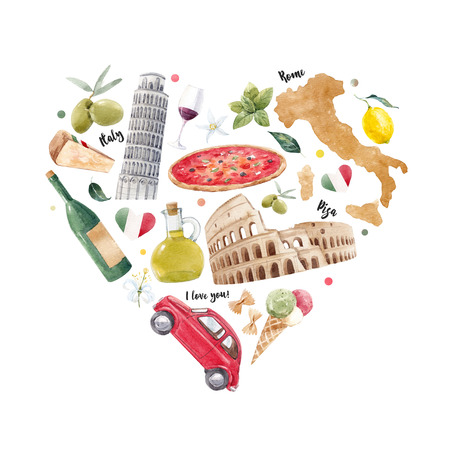 Italian heart illustration 版權商用圖片 - 107209958