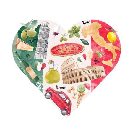 Italian heart illustration