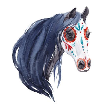 Watercolor horse vector portrait Фото со стока - 107209966