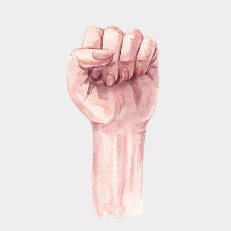 Beautiful vector illustration with watercolor human woman clenched hand fist