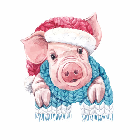 Beautiful vector watercolor pig swine in christmas hat with scarf symbol of 2019 year  イラスト・ベクター素材