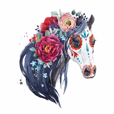 Beautiful vector portrait with hand drawn watercolor horse head in mexican dead style
