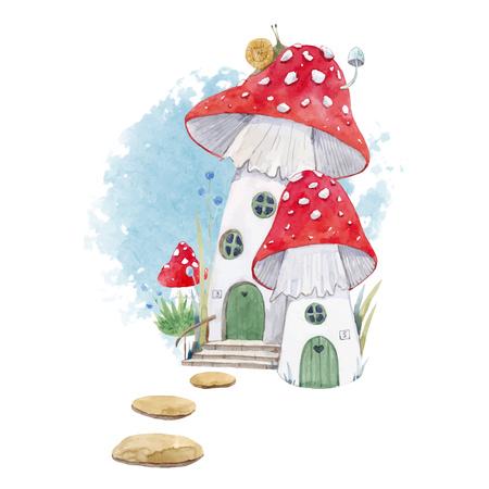 Watercolor mushroom house illustration Foto de archivo - 107210007