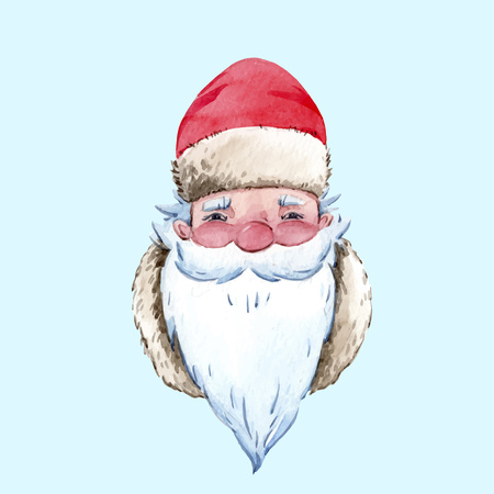 Beautiful vector christmas illustration with hand drawn santa claus Illustration