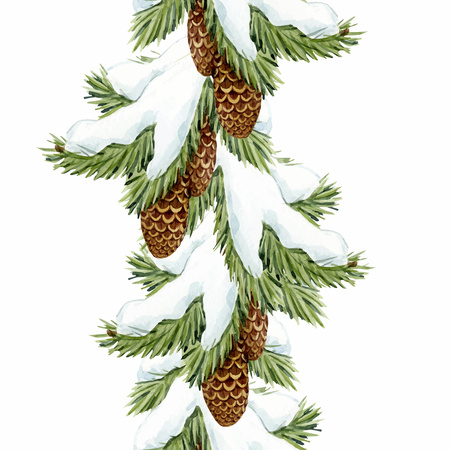 Beautiful vector christmas seamless pattern with watercolor fir trees Ilustrace