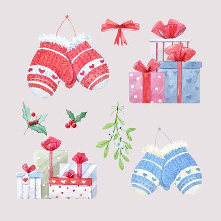 Bel ensemble avec des illustrations de Noël d'hiver à l'aquarelle Vecteurs