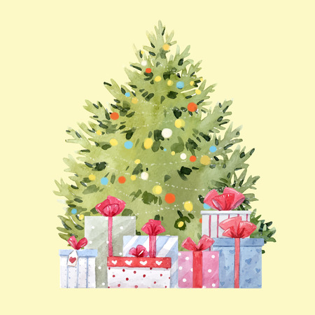 Watercolor fir tree christmas vector illustration