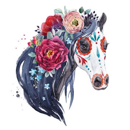 Watercolor horse portrait Фото со стока - 107755725