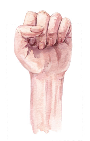 Woman clenched hand illustration