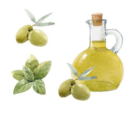 Watercolor olive set