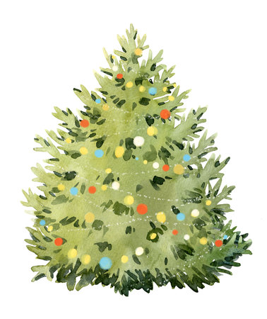 Watercolor fir tree christmas illustration