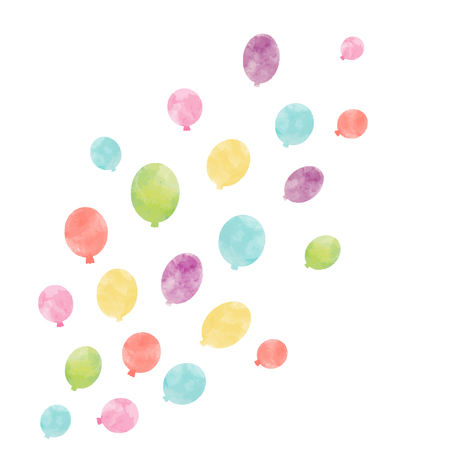 Beautiful vector composition with hand drawn watercolor air baloons