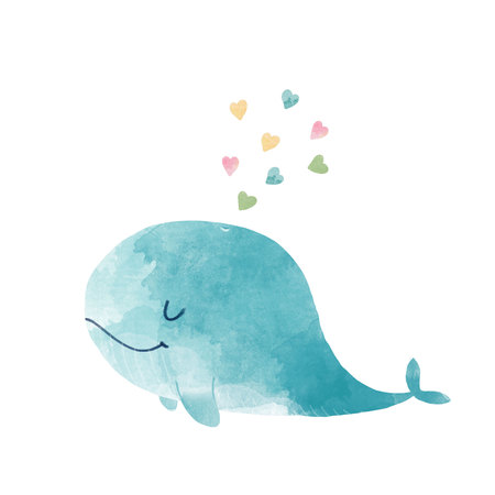 Watercolor whale illustration Stok Fotoğraf - 108566433