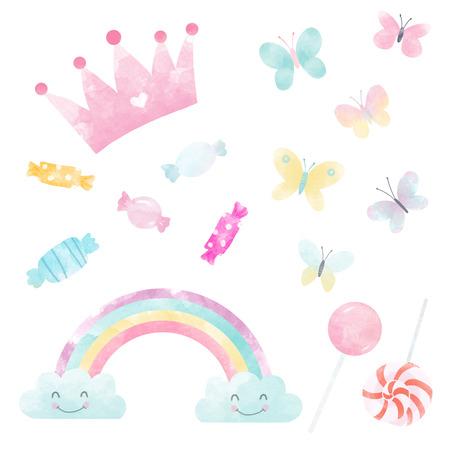 Watercolor sweets butterflies rainbow Stockfoto
