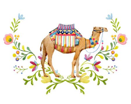 Watercolor camel illustration Foto de archivo