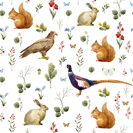 Beautiful vector seamless pattern with hand drawn watercolor animals and flowers