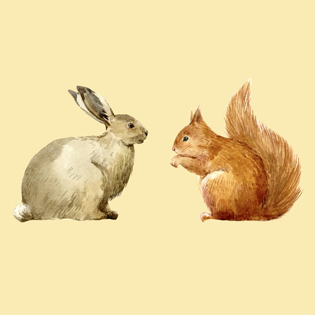 Watercolor rabbit and squirrel vector set Stock Photo