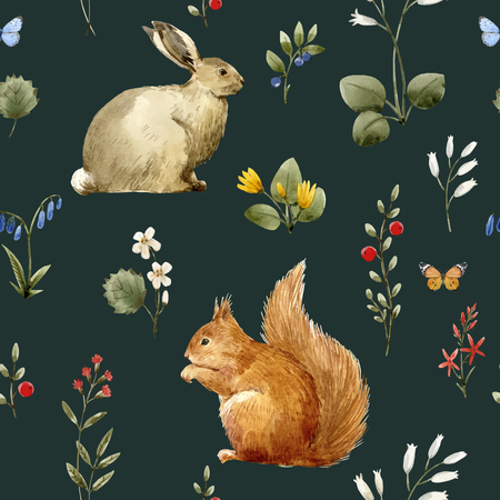 Watercolor forest animal vector pattern