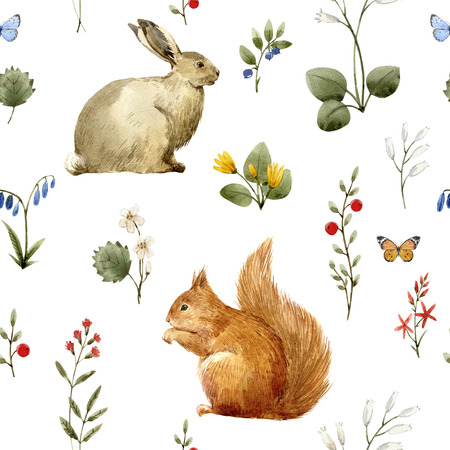 Watercolor forest animal pattern