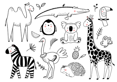 Beautiful vector set with cute african safari animals