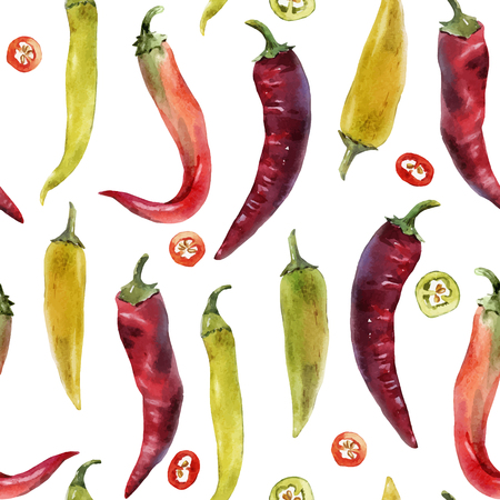 Beautiful vector seamless pattern with hand drawn watercolor chili peppers Ilustrace