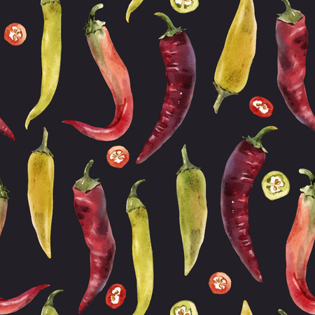 Beautiful vector seamless pattern with hand drawn watercolor chili peppers Illustration