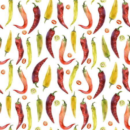 Beautiful vector seamless pattern with hand drawn watercolor chili peppers Stock Photo