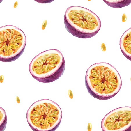 Beautiful vector seamless pattern with hand drawn passion fruit Vetores