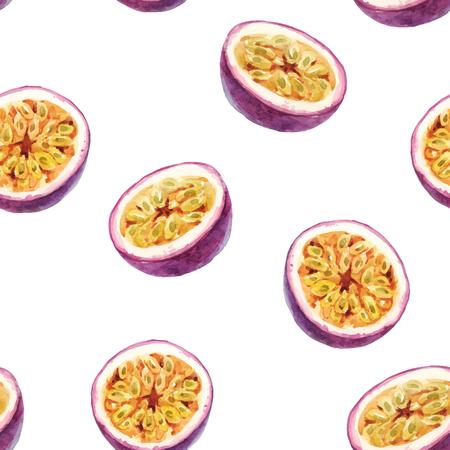 Watercolor passion fruit pattern