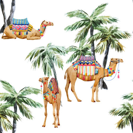 Watercolor camel and palm pattern Stockfoto - 109767054