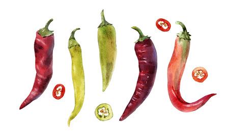 Hot chili pepper set Banco de Imagens