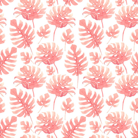 Watercolor tropical palm leaf vector pattern