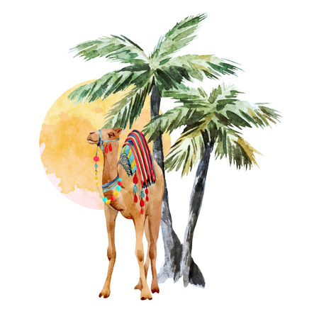 Beautiful vector composition with watercolor camel and palm trees