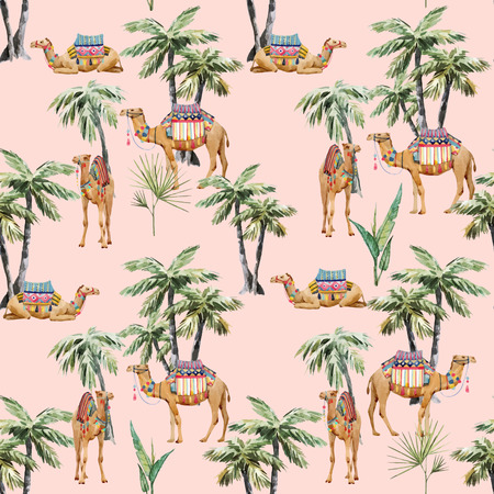 Beautiful vector seamless pattern with watercolor camel and palm trees Иллюстрация
