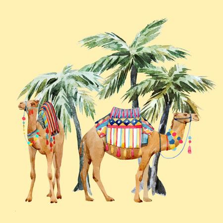 Hermosa composición de vectores con acuarela camello y palmeras
