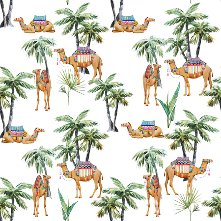 Beautiful vector seamless pattern with watercolor camel and palm trees