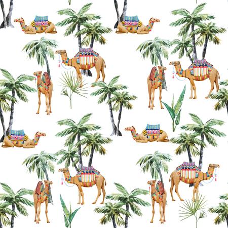 Patrón transparente de vector hermoso con acuarela camello y palmeras